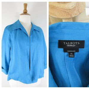 Talbots Plus Size Blue Irish Linen Blazer Jacket